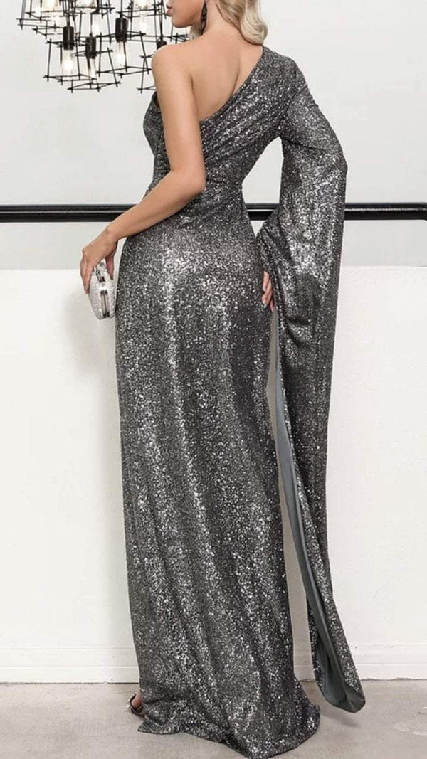 Sale Jessica Bara Glenna One Shoulder Cut Out Glitter Gown