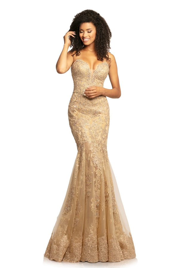 Johnathan Kayne Beaded Lace Sweetheart Gown