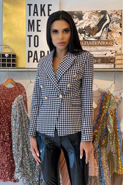 Jessica Bara Donatella Houndstooth Gold Button Blazer
