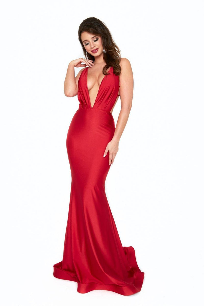 Atria V Neck Open Back Bodycon Gown