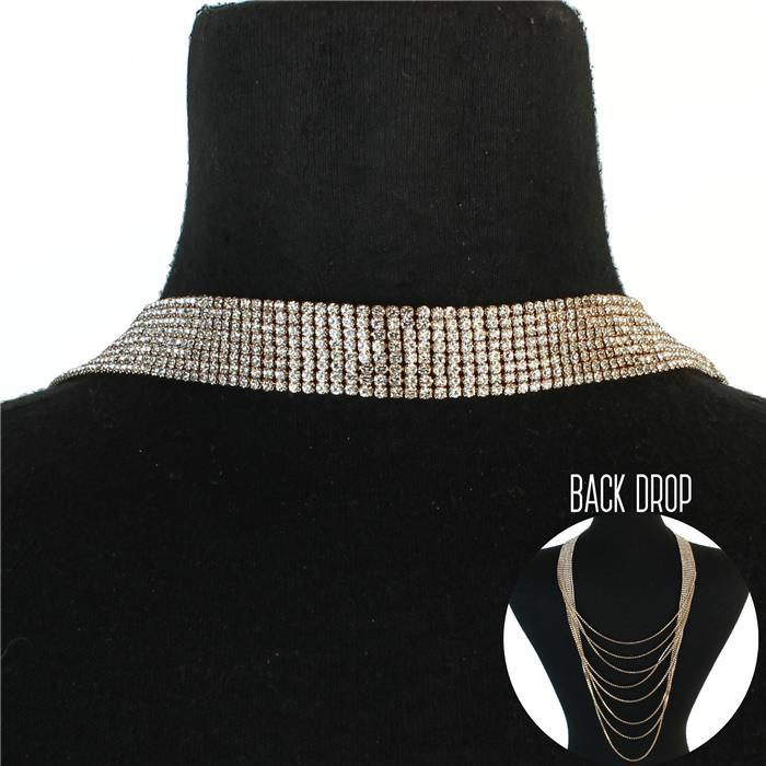 Jessica Bara Rea Rhinestone 8 Line Back Drop Necklace
