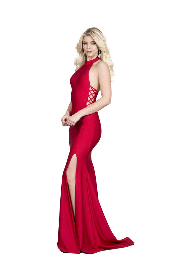 Atria High Neck Backless Bodycon Gown