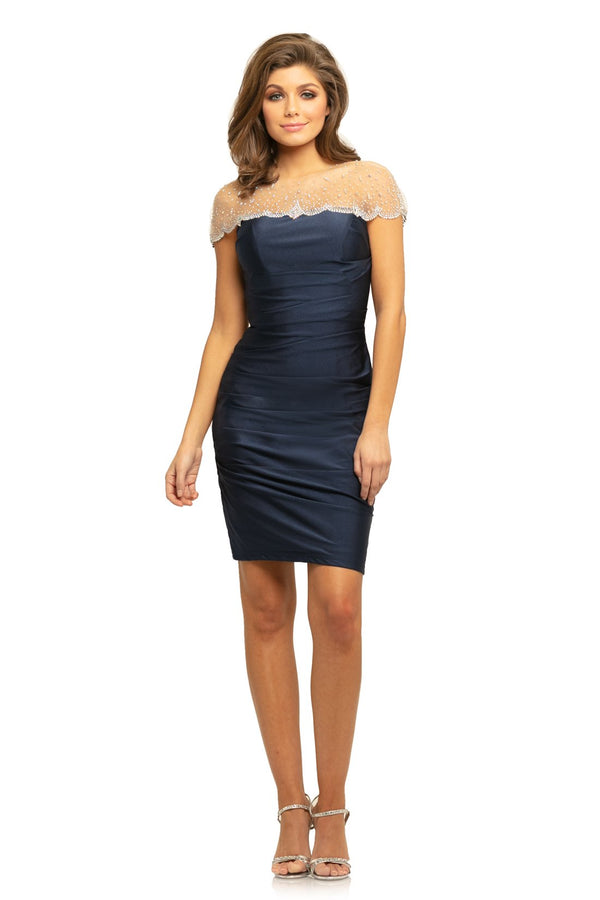 Johnathan Kayne EMBELLISHED ILLUSION NECK SHEATH DRESS