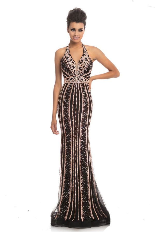 Johnathan Kayne Halter Beaded Gown