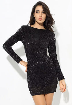 Jessica Bara Badia Long Sleeve Sequin Mini Dress