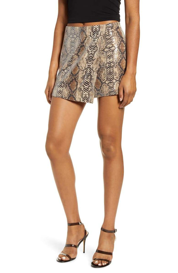 Endless Rose Rina Sequin Snake Print Skort