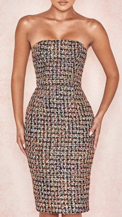Jessica Bara Sandy Strapless Tweed Midi Dress