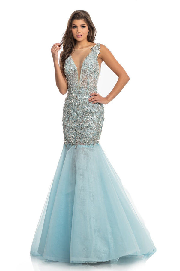 Johnathan Kayne ILLUSION PLUNGE Jeweled Gown