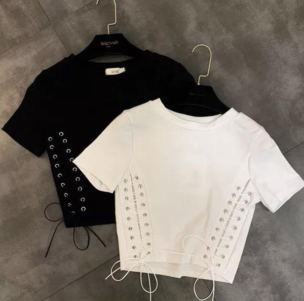 Jessica Bara Hailey Lace Up Short Sleeve Crop Top