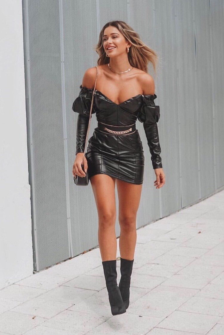 Jessica Bara Myles Off Shoulder Faux Leather Dress