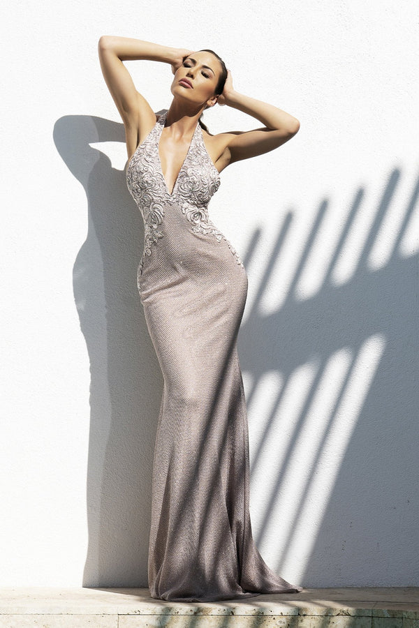 Baccio Rina Backless Hand Painted Gown