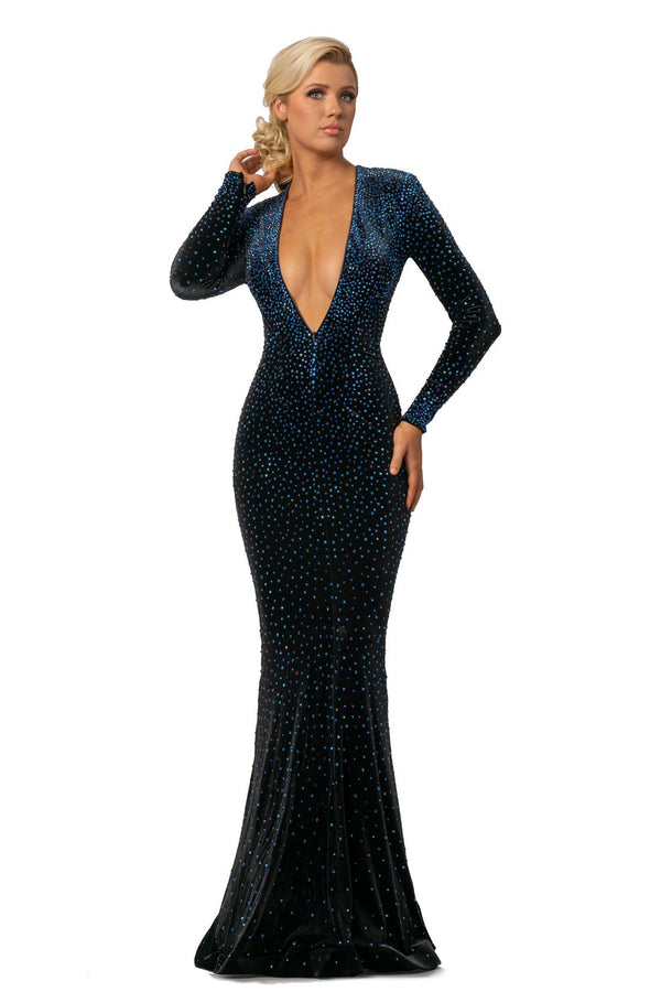 Johnathan Kayne Embellished Long Sleeve Gown