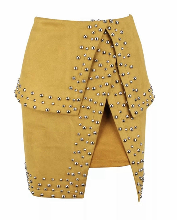 Jessica Bara Keaton Studded Slit Mini Skirt