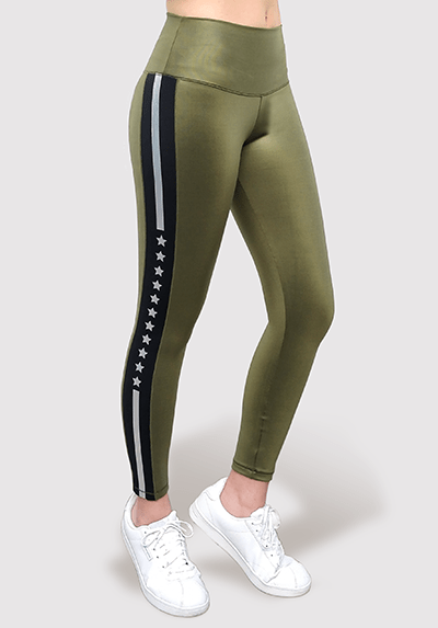 Active Fit Silver Stripe Shine Leggings