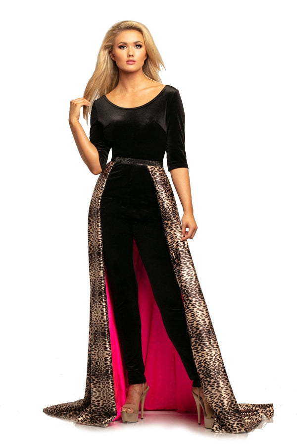 Johnathan Kayne Scoop Neck Jumpsuit With Leopard Overskirt
