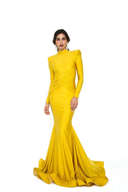 Atria Long Sleeve High Neck Gown