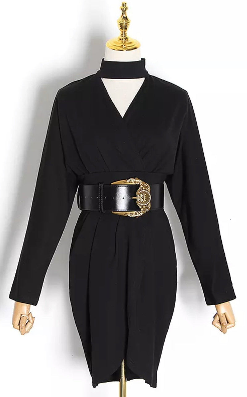Jessica Bara Paige Long Sleeve Choker Belted Mini Dress