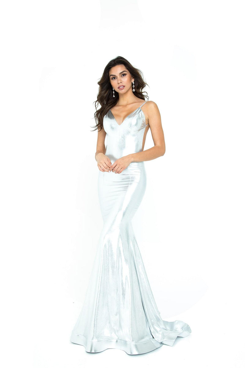 Atria Backless Backless Metallic Gown