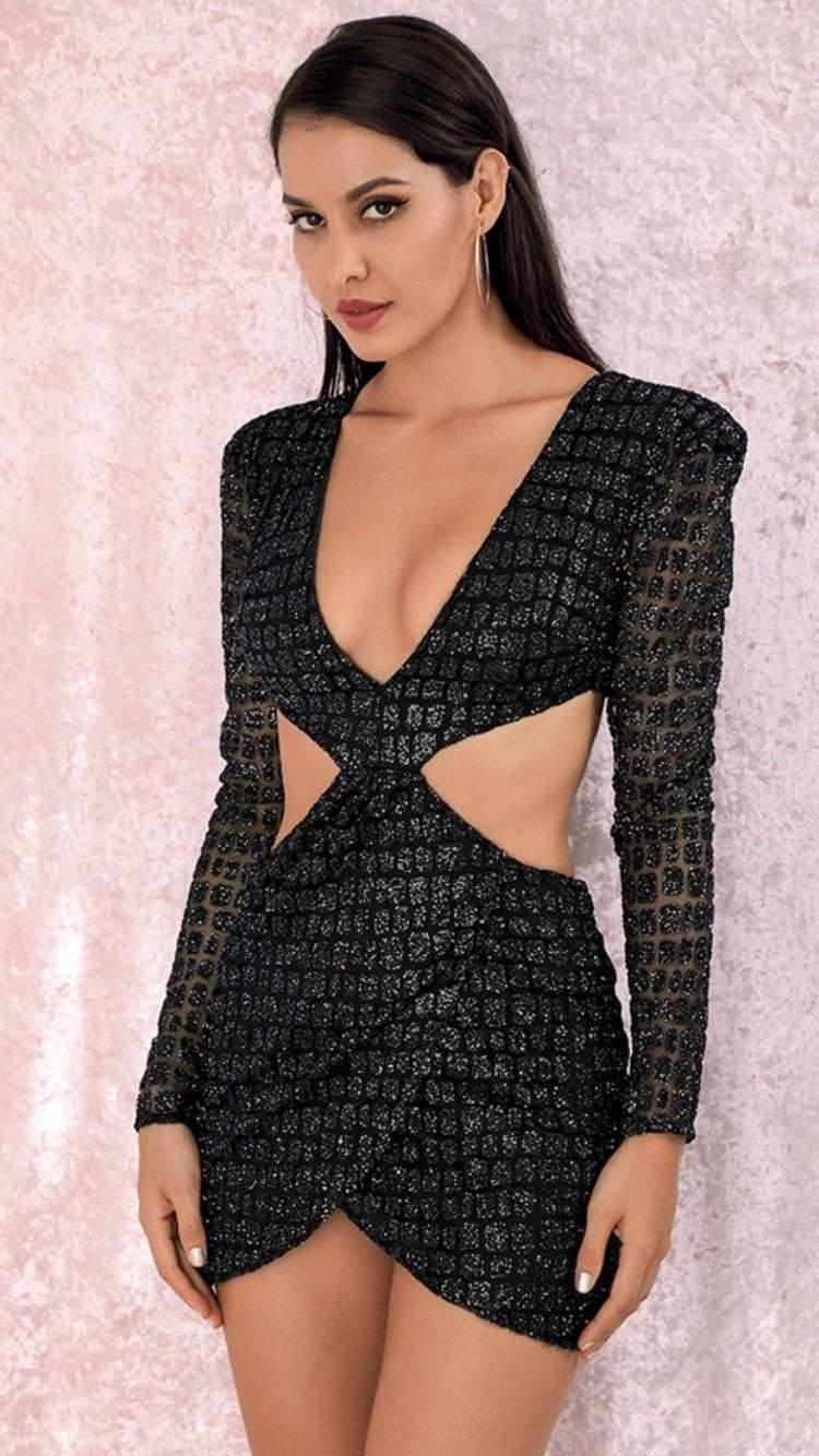 Jessica Bara Delaney Cut Out Long Sleeve Mini Dress