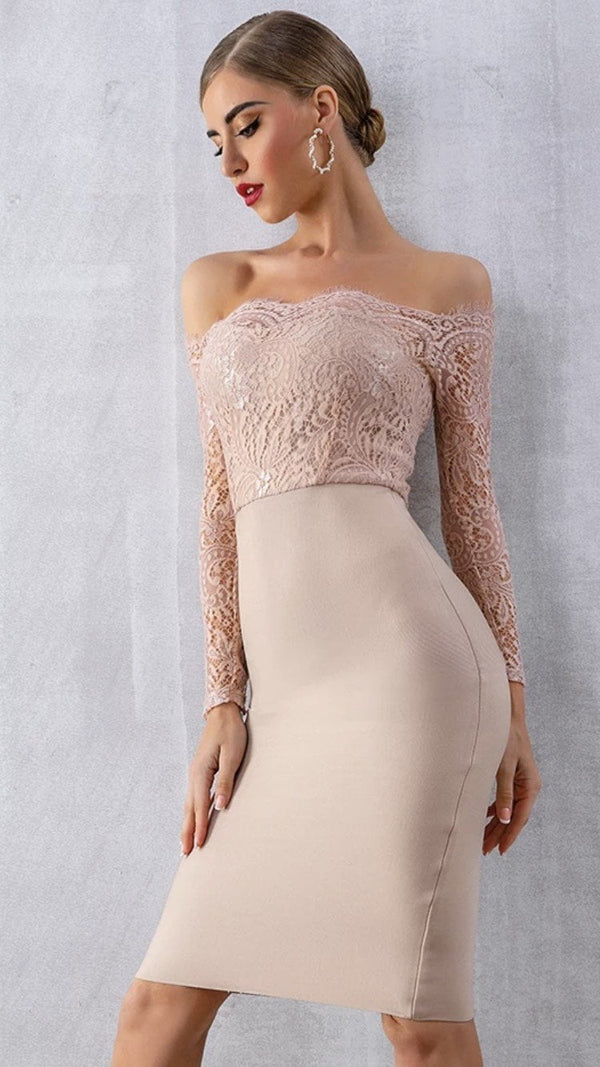 Jessica Bara Finley Off the Shoulder Lace Bandage Midi Dress