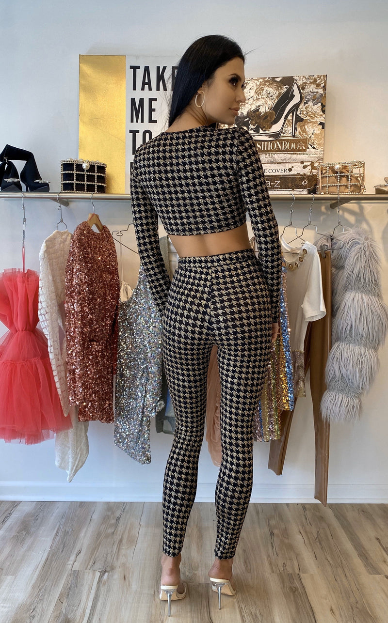 Jessica Bara Breann Houndstooth Two Piece Set