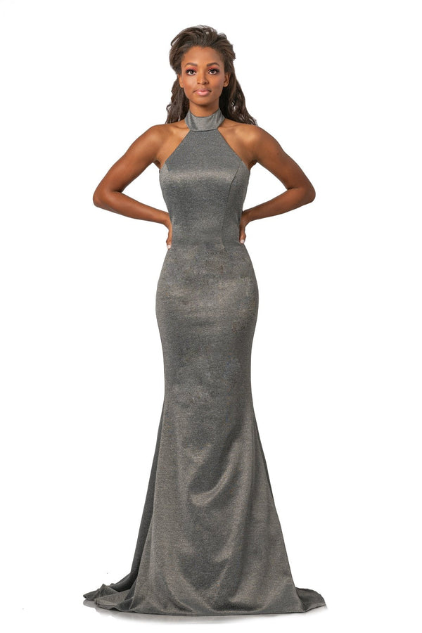 Johnathan Kayne High Halter Neck Gown