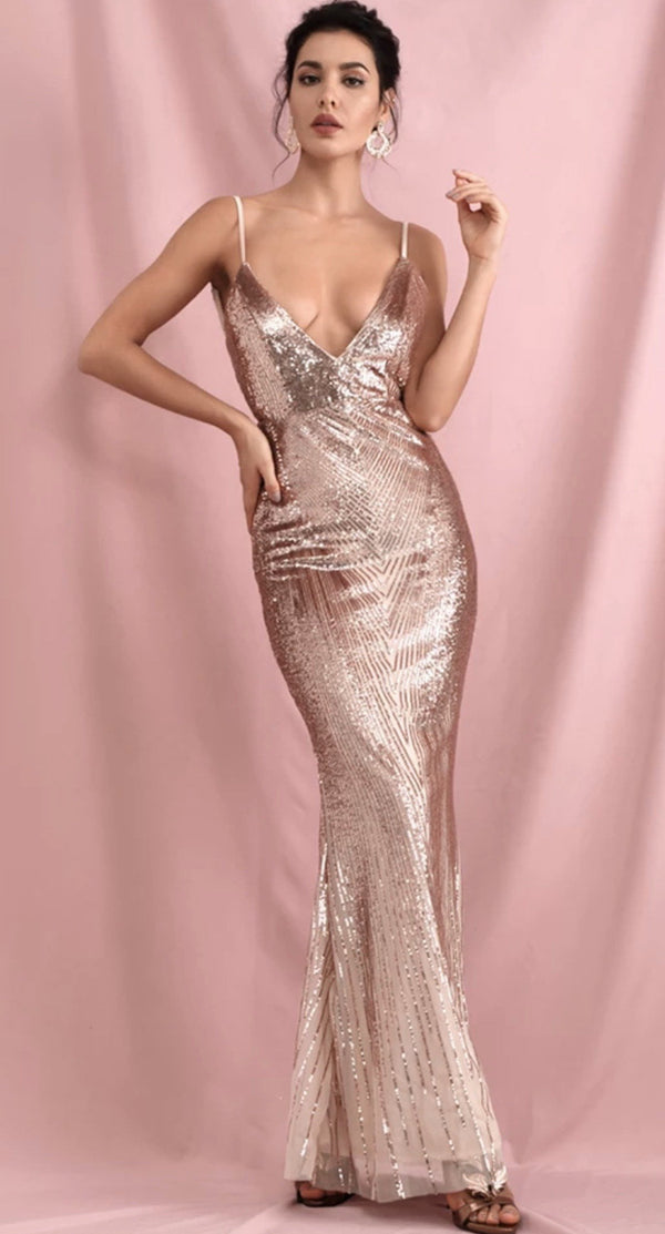 Jessica Bara Ana V-Neck Geometric Sequin Backless Gown