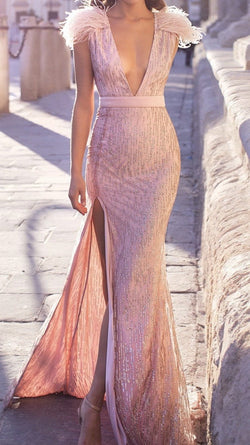 Jessica Bara Lucille Feather V Neck Gown