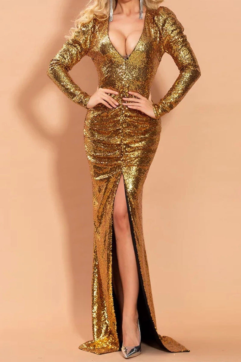 Jessica Bara Nola Long Sleeve Sequin Ruched Gown