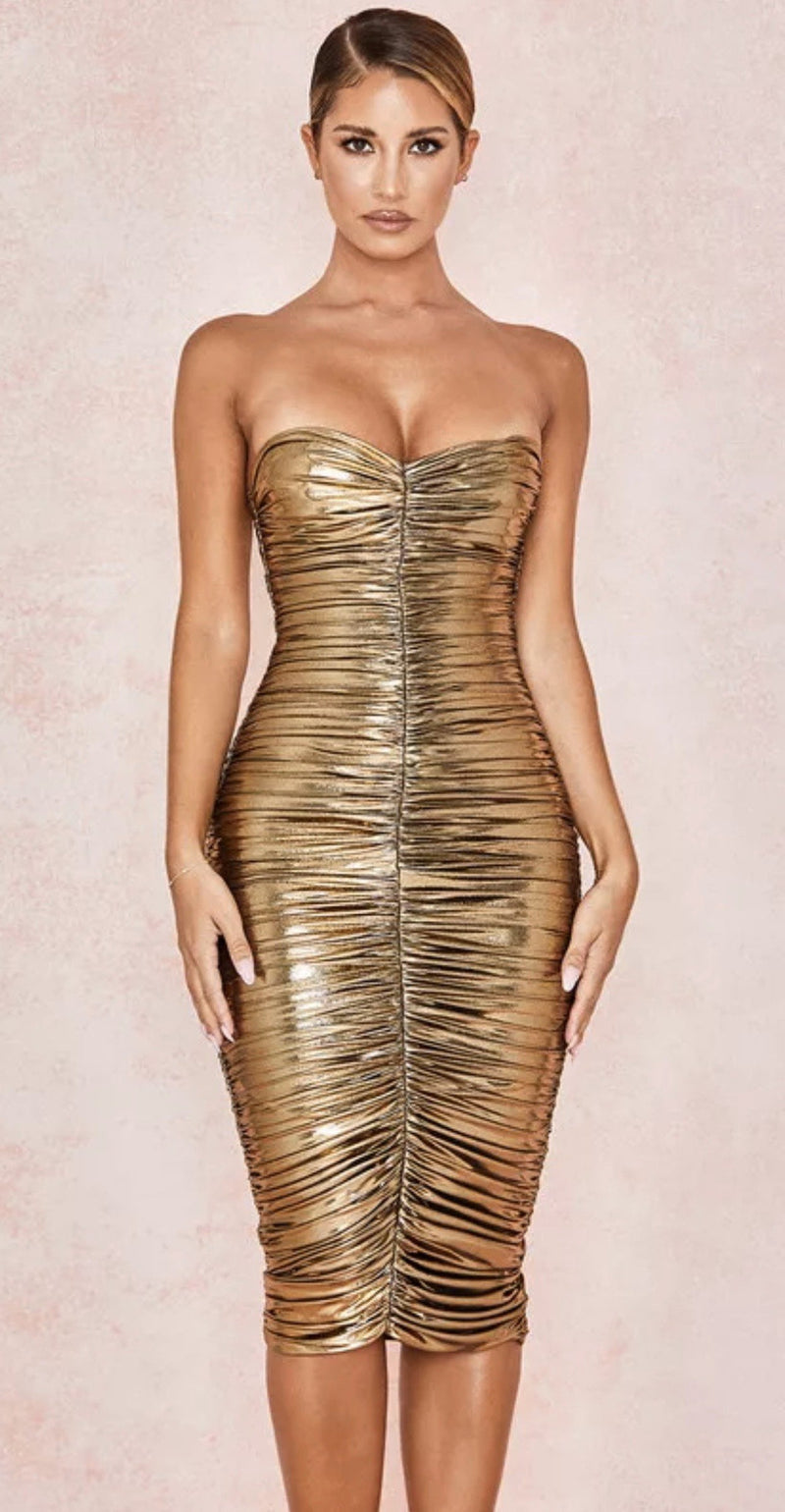 Jessica Bara Phoenix Strapless Ruched Bodycon Midi Dress