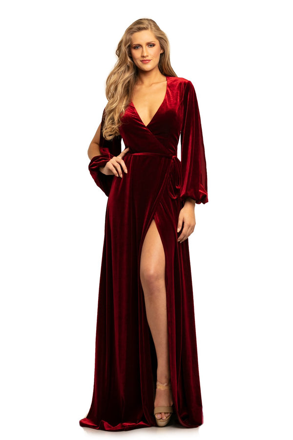 Johnathan Kayne Deep V Neck A Line Dress