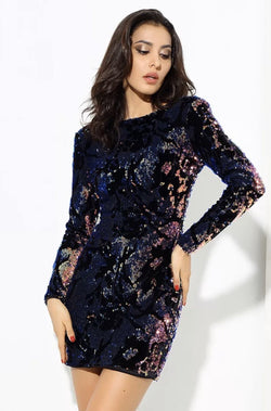 Jessica Bara Abilene Open Back Sequin Mini Dress