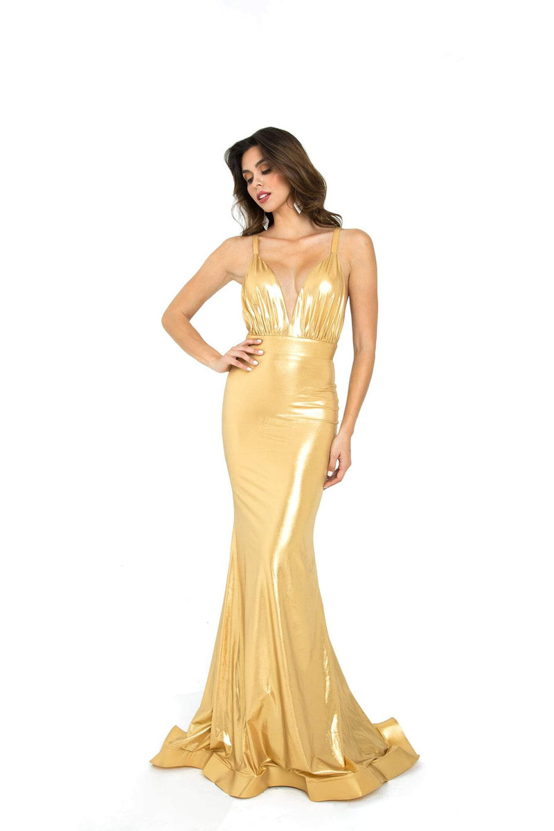 Atria V Neck Backless Metallic Gown