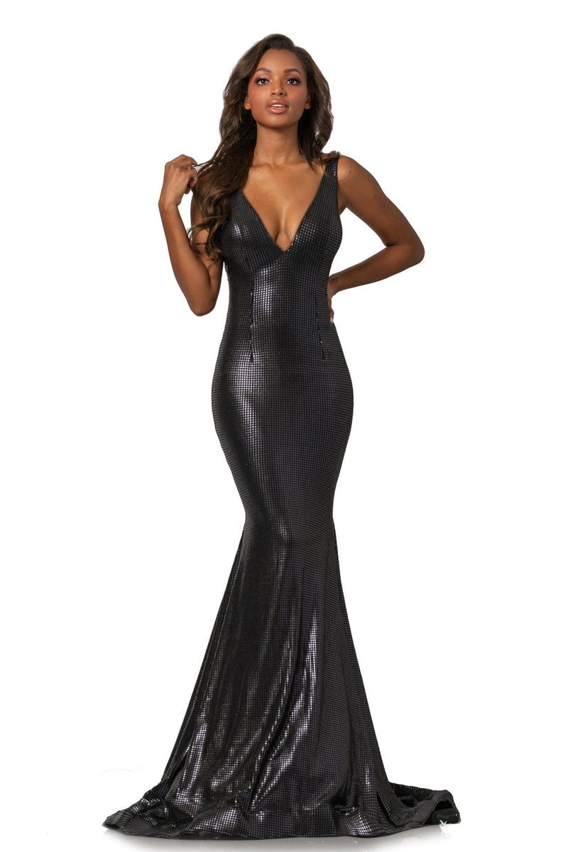 Johnathan Kayne Plunging V Neck Sequin Gown