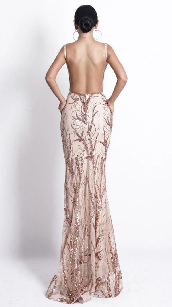 Jessica Bara Dena Rose Gold Sequin Backless Gown