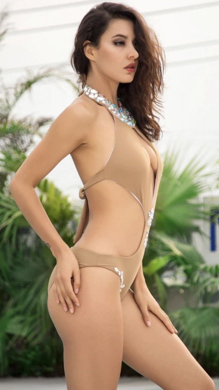 Jessica Bara Diana Cut Out Beaded Bathing Suit