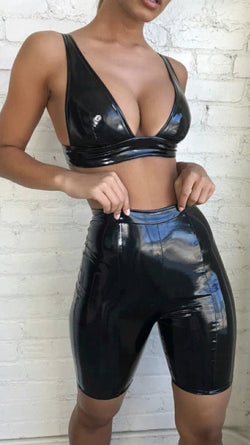 Jessica Bara Pascha Latex Two Piece Bodycon Set