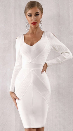 Jessica Bara Courtney Bodycon Cold Shoulder Midi Dress