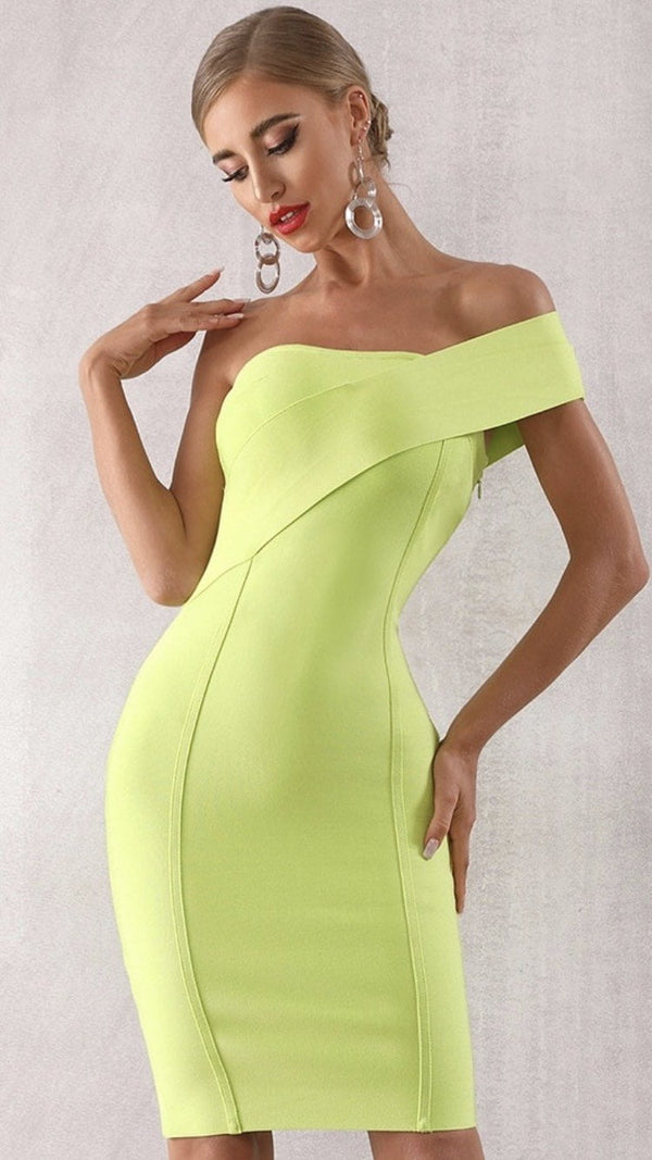Jessica Bara Sevva Bandage One-Shoulder Midi Dress