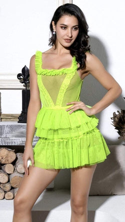 Jessica Bara Kia Fluorescent Ruffle and Lace Mini Dress