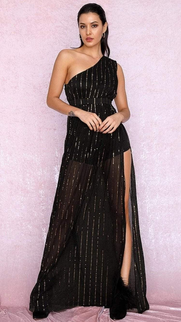 Jessica Bara Jemima One Shoulder Sheer Gown