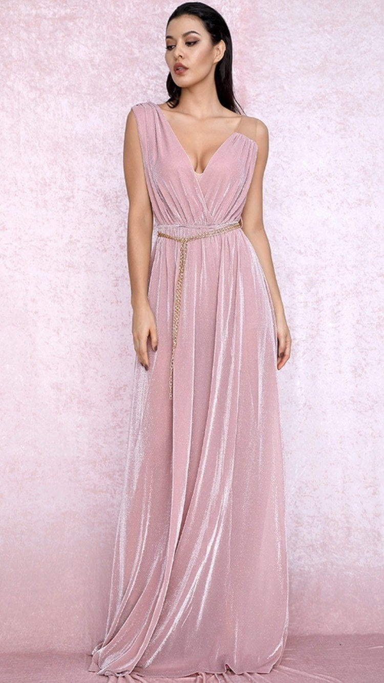 Jessica Bara Cesare V Neck Side Slit Maxi Dress
