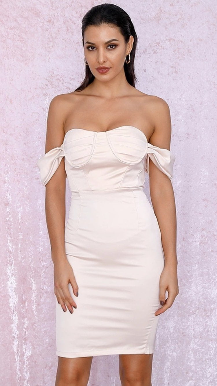 Jessica Bara Tatja Satin Off the Shoulder Midi Dress