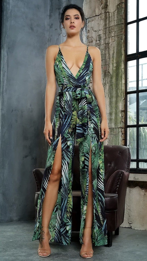 Jessica Bara Ellen Cut-Out Green Leaves Jumpsuit