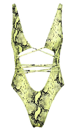 Jessica Bara Ashley Snakeskin Strappy Swimsuit