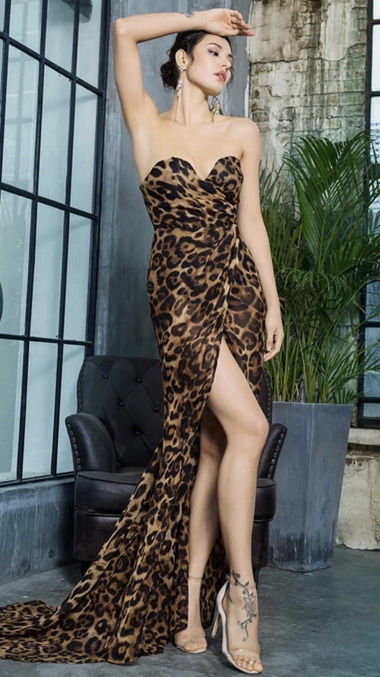 Jessica Bara Adalyn Strapless Leopard Maxi Dress