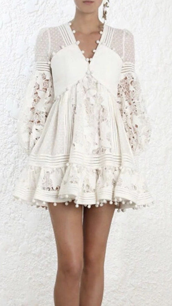 Jessica Bara Iris Lace and Ruffle Long Sleeve Mini Dress