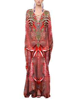 Shahida Parides Red Kaftan Maxi Dress