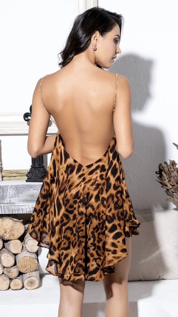 Jessica Bara Brynn Leopard Open Back and Metal Chain Mini Dress