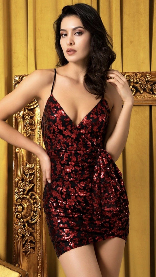 Jessica Bara Elisa Cross Back Bodycon Sequin Mini Dress